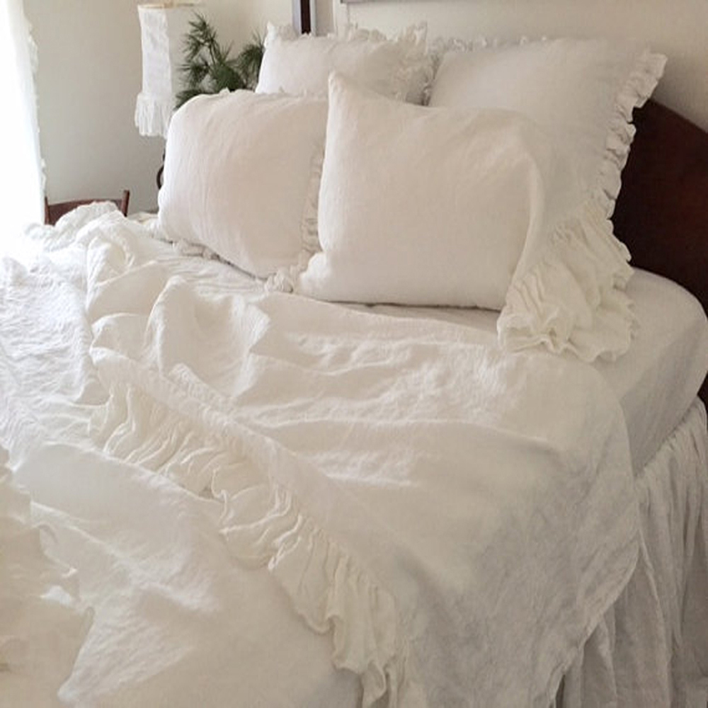 Marvelous Aliexpress.com : Buy White Washed Ruffled Pure Linen Duvet Cover King Size  Queen Natural Flax Linen Bedding Children French Bed Cover Full From  Reliable ...