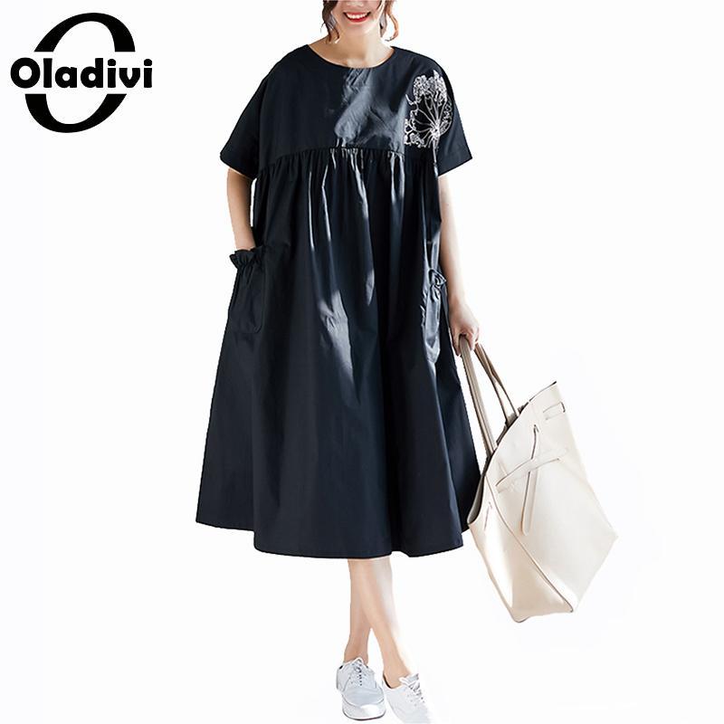 Femmes Noir Robes Lin Occasionnel Dames Plus Midi Chemise Oladivi Robe Taille Longue Tuniques Coton Lâche Brodé Femme La tgHcqwYC