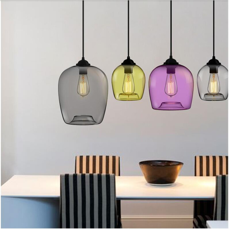 Vintage Fashion Handmade 4 Colors Crystal Glass LED E27 Pendant Light For Dining Room Restaurant Bar Pendant Lamp AC80-265V 1441 vintage handmade carved crystal glass bulbs led g9 pendant light for dining room living room bar restaurant lamps 1484