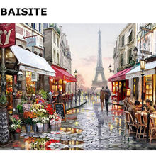 BAISITE Frameless Picture DIY Oil Painting By Numbers Abstract Landscape Picture Canvas Painting For Living Room Wall Decor H355(China)
