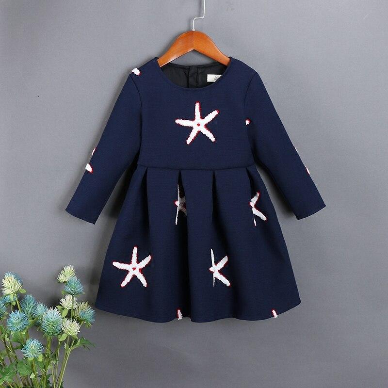 Printemps famille vêtements enfant vêtements maman et moi enfants filles manches complètes étoile de mer broderie robe mère fille robes de mode