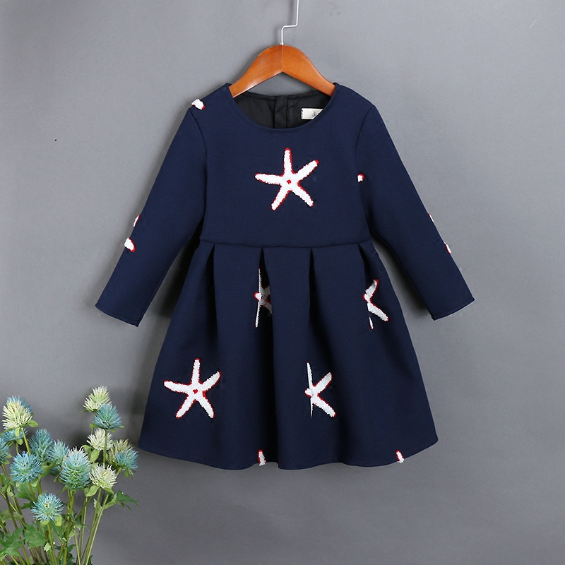 Spring Family clothes child Clothing mom and me kids girls full sleeve starfish embroidery dress Mother Daughter fashion Dresses