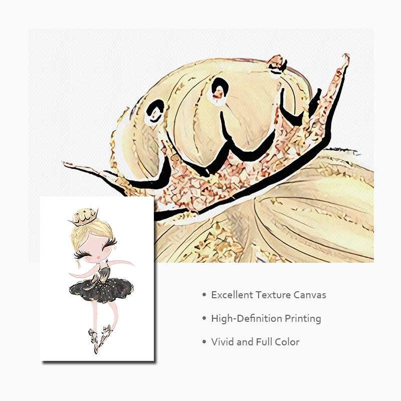 Балетная принцесса настенная живопись садик Холст Картина Северный плакат Единорог Лебедь печать настенные картины для ребенка декор для детских комнат