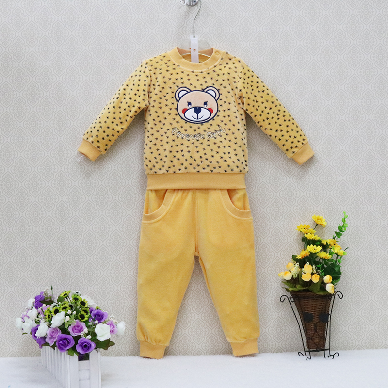 Little Q Velour Sports Children's Clothes set Baby Causal Long Sleeve Blouse+Long Pants 2pcs/set Clothing sets Kids Sleepwear