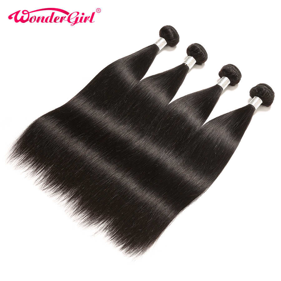 Wonder Girl Brazilian Hair Weave Bundles 100% Remy Hair Extension Brasilian Straight Human Hair Bundles kan köpa 3 eller 4 paket