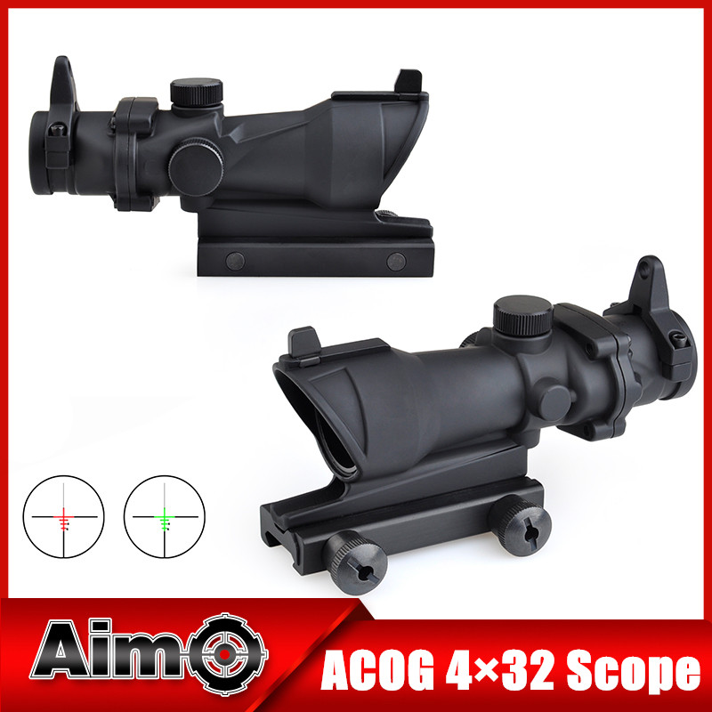 Aim-O Red Dot Iron Sight ACOG 4x32 Optical Rifle Scope Red / Green Reticle With Mount 1 set AO5310 4x 30mm red green mil dot reticle rifle scope with gun mount black 3 x ag13 1 x cr2032