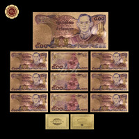 Wr 24k Gold Plated 500 Baht Paper Craft Collectible Souvenir Antique Style Colored Thailand Colorful Banknote for Wall Decor