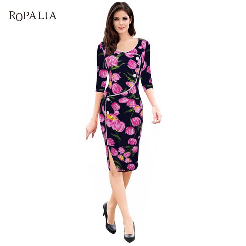 ROPALIA Women Vintage Brief Split Bottom Elegant Casual Work 3/4 Sleeve Deep O-Neck Body ...