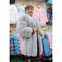 LIYAFUR 2017 10 Renkler Uzun Gerçek Hakiki Doğal Kalın Mavi Fox Kürk Rusya için Kürkler Kış Lüks Mont Ceket kadınlar