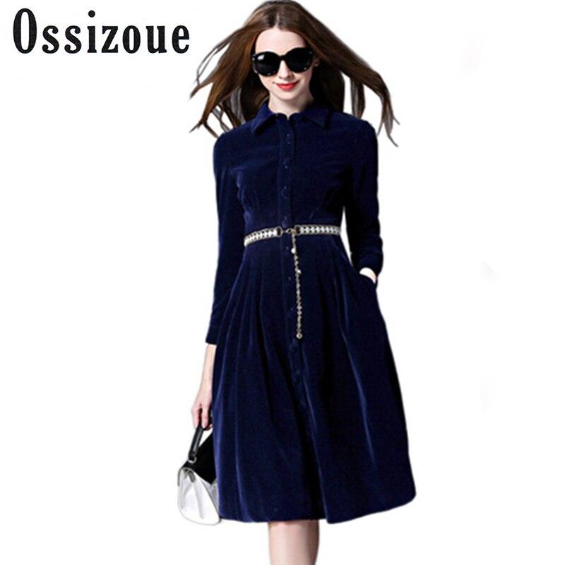 2017 hiver velours robe automne femmes OL bureau Midi robes bouton dames travail porter robe avec ceinture Vintage a-ligne vestidos