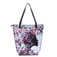 2019 Fashion Women Big Size Handbag Tote Ladies Casual Flower Printing Canvas Graffiti Shoulder Bag Bolsa Feminina Diaper Bags 2017 fashion cartoon handbag tote shoulder stripe casual women ladies canvas bag simple cute mini girl bags bolsa feminina