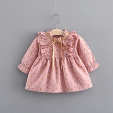 New Baby Girls Long Sleeve Bow Floral Print Vintage Dress Kids Infant Princess Party Pleated Tutu