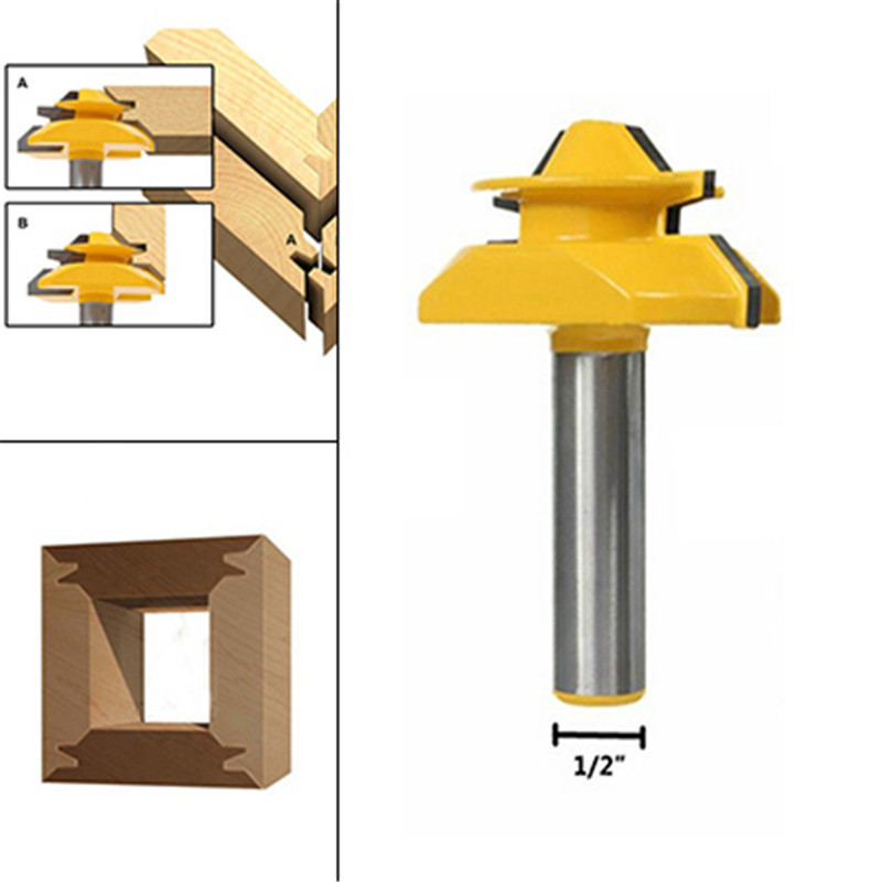 1PC Small Lock Miter Wood Router Bit 45 Degree Tenon Cutter 1/2 Inch Woodworking Milling Cutter/milling Tools /carbide End Mill high grade carbide alloy 1 2 shank 2 1 4 dia bottom cleaning router bit woodworking milling cutter for mdf wood 55mm mayitr