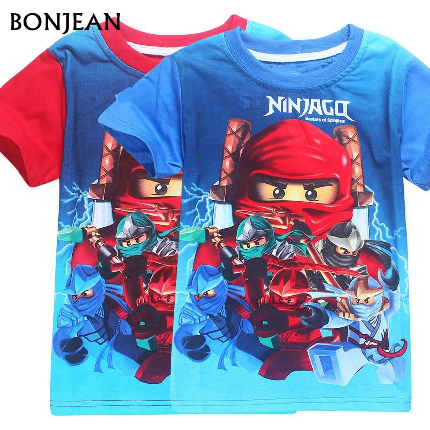 2017 fashion Summer Children's Clothing Cotton Boys Girls T-shirt Legoe Ninja Ninjago Cartoon Kids Tops Tees short sleeve 3-8y