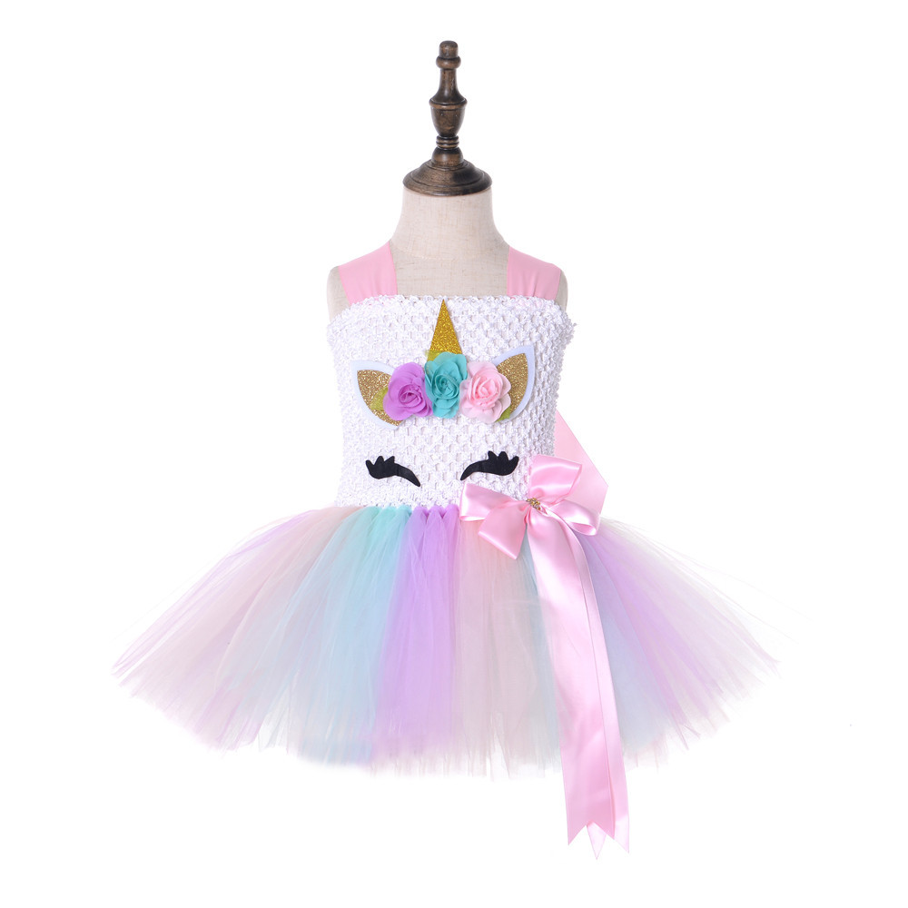 2019 New Unicorn Dress Flower Girl Tulle Tutu Dress Pageant Wedding Halloween Costume Kids Birthday Party Purim Couture Dress Xl