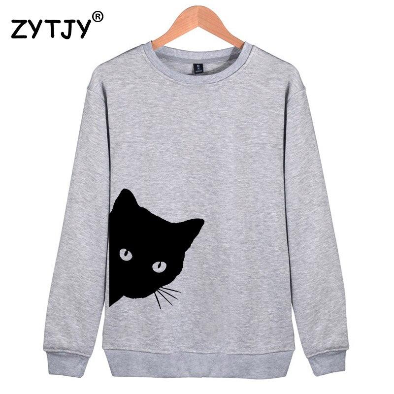 Cat Looking Out Side Print Frauen Sweatshirts Beiläufige Hoodies Für Dame Mädchen Lustige Hipster Jumper Drop Schiff SW-7