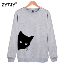 Cat Looking Out Side Print Women Sweatshirts Casual Hoodies For Lady Girl Funny Hipster Jumper Drop Ship SW-7(China)