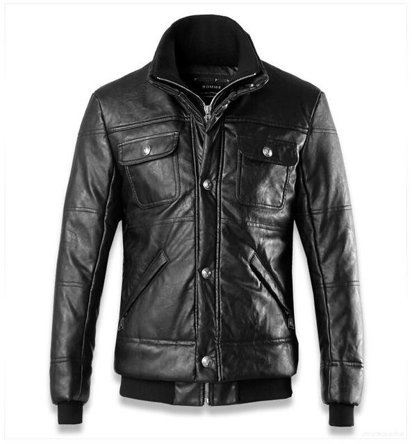 2016 winter new Black double pocket skeletons Slim short paragraph quilted motorcycle Brand Mandarin Collar leather jackets