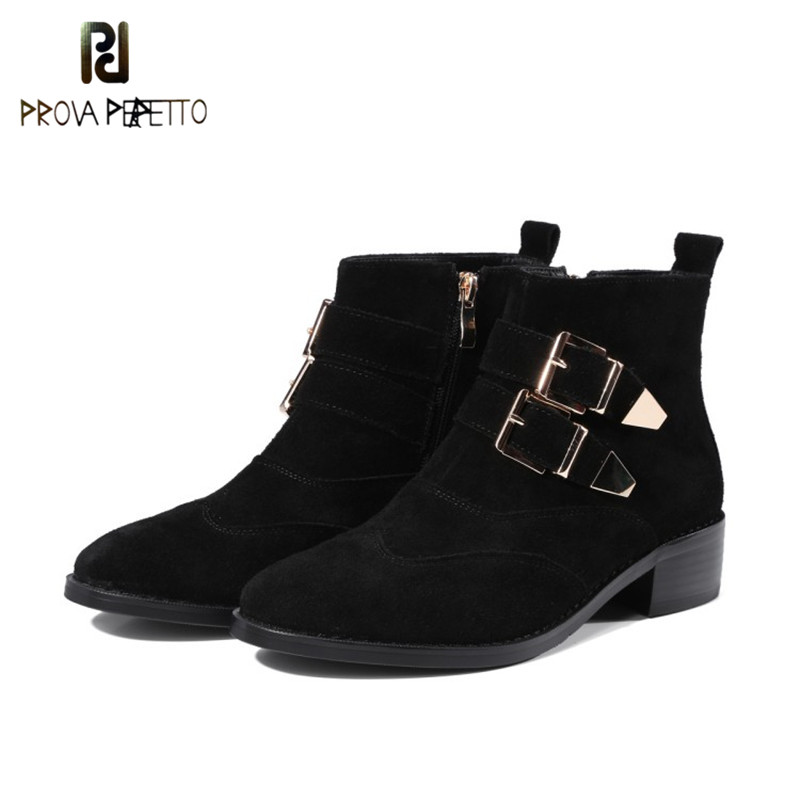 Prova Perfetto Top Selling Buckle Strap with Zipper Brown Martin Boots England Style Low Heels Flat Leather Woman Short Boots : 91lifestyle