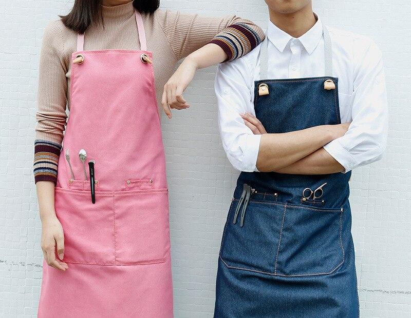 Denim Keuken Koken Schort met Verstelbare Katoen Band Grote Zakken Blauw Barista Mannen en Vrouwen Homewear - 5