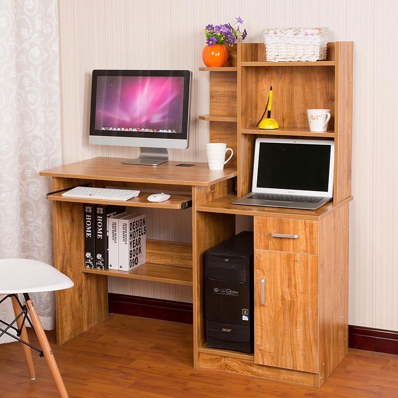 Double Computer Desk Desktop Home Laptop Table Bookshelf