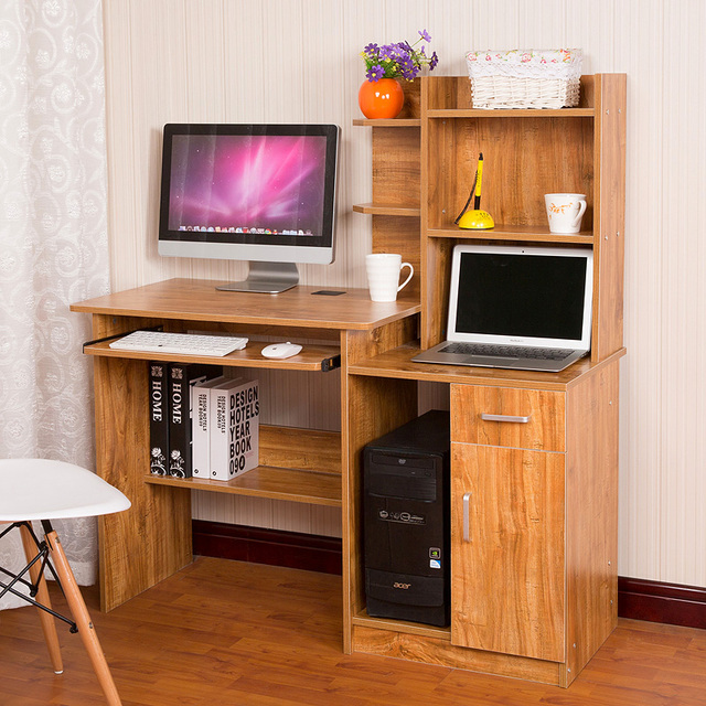 Double Computer Desk Desktop Home Laptop Table Bookshelf