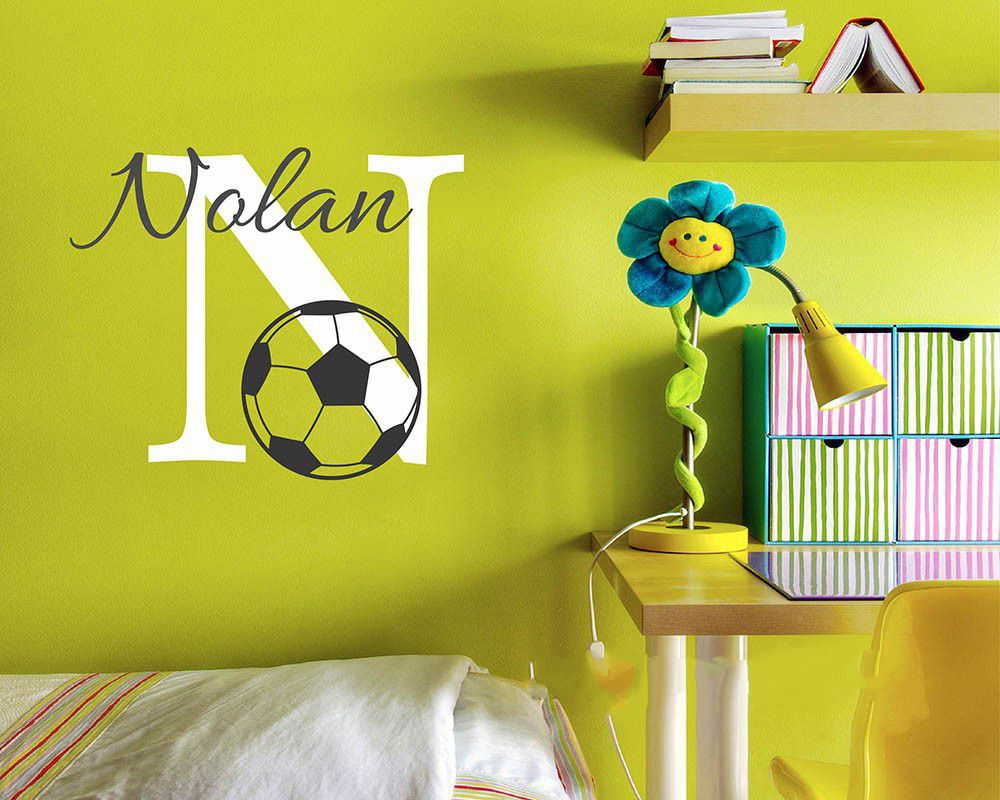 Cute Baby Nursery Football Name Custom Wall Sticker Kids Room ...