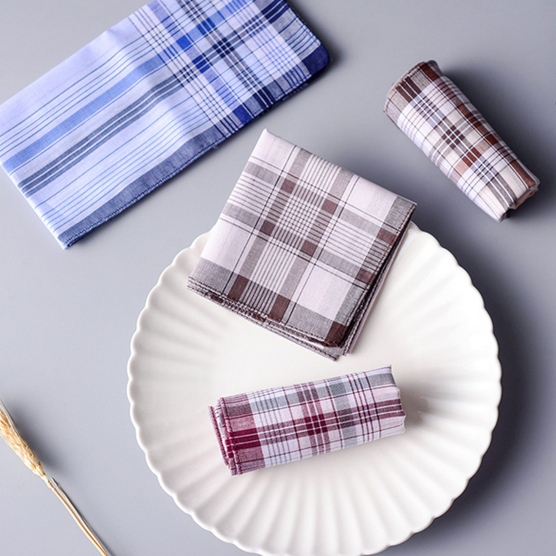 10Pcs/lot 38*38cm Hot Cotton Handkerchief Classic Plaid Pattern Comfort Vintage Square Handy Pocket Women Men For Gifts