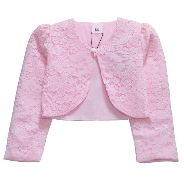 cd5eb581377d Lace Girls Bolero Kids Party Coat Pink Formal Wraps Shrug Princess ...