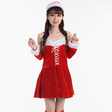 a22ce0502 Cosplay Dress+Arm Sleeve+Hat Sexy Adult Women Fancy Costume Outfits  Halloween Party Miss Santa Women Christmas Dress X22