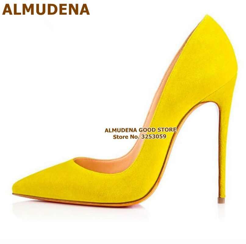 Almudena 12 Cm Hoge Hakken Suede Puntschoen Jurk Pompen Vrouwen Schoenen Stiletto Hakken Slip-On Party Schoenen Paars geel Blauw Size45