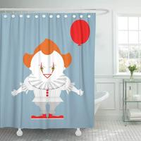 Shower Curtains Bathroom Curtain Pennywise Angry Evil Red Haired Clown with Balloon King Stephen Crazy Creepy Person bath
