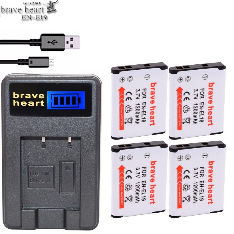 4x bateria EN EL19 EN-EL19 camera Battery ENEL19 for Nikon Coolpix S3100 S3300 S4100 S4200 S4300 S4400 S5200 S6400 S6500 camera