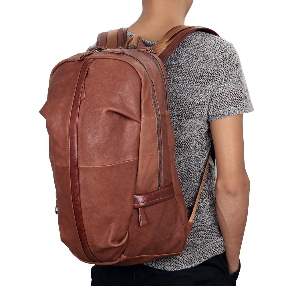 JMD Tanned Leather Men's Backpack For Student School Extra Large Backpacks 7340B jmd genuine cow leather mens laptop backpack for student school backpacks 7347c