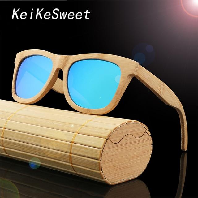 5d14d50a3a4c6 KeiKeSweet Chaude Réel Bois Polarisées Homme Femmes Bambou Surdimensionné  Villeuse lunettes de Soleil Voyage Top Qualité