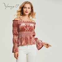 Young17 autumn pink top v neck long flare sleeve slash neck women sexy party blouse female top beauty pleated new women blouse