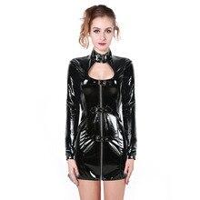 2017 Sexy Women Latex Rubber Buckle Dress Keyhole Bust Zipper Black PVC Sexy Faux Leather Cupless Vinyl Club Mini Dress