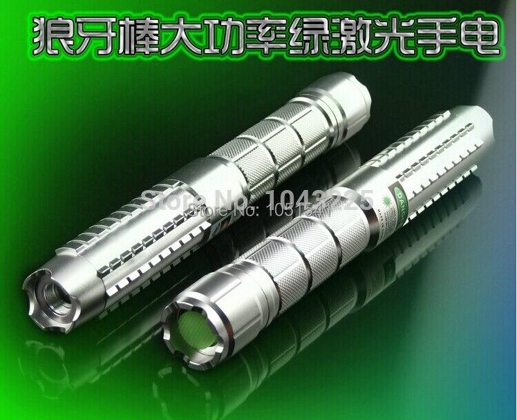 Promotion Puissant! Militaire Vert laser pointeur 500000 m 500 w 532nm Lazer Lampe De Poche Se Concentrer allumette Brûlante, Brûler cigarettes + 5 caps