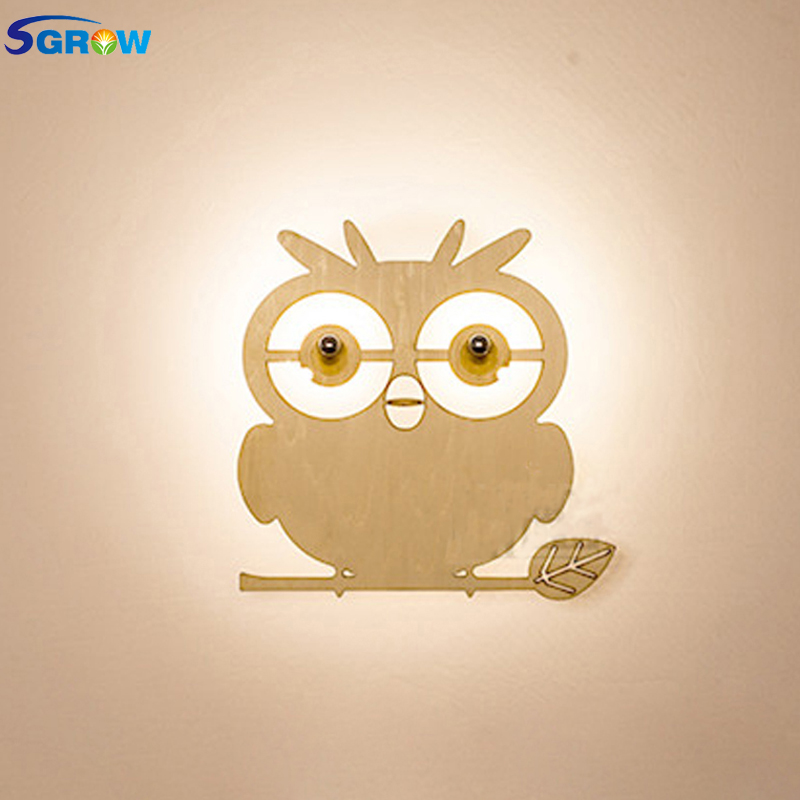 SGROW Creative Wooden Owl Wall Lamp Children Cartoon Lovely Lights for Bedroom Dinning Room Aisle Stairs Wall Sconce LED Light creative cartoon dinosaur pattern wall sticker for children s bedroom decoration