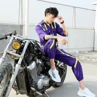 2019 spring and summer new men's personality hit color jumpsuit men's hip hop fashion loose jumpsuit men clothing