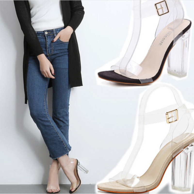 Summer Women Ankle Strap Sandals Transparent PU Buckle Strap Square heel 11 5CM High Heels Sandals Women Shoes Sexy Pumps in High Heels from Shoes