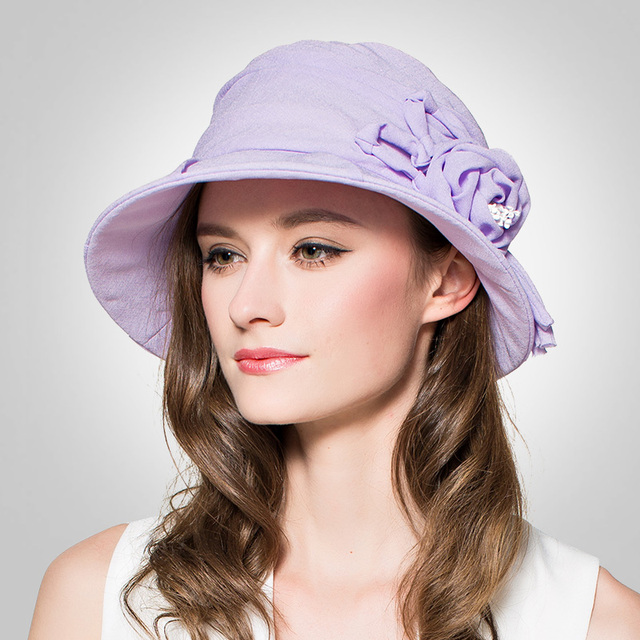 2016 Verano Nuevo Diseño Espiral Fold Brim Uv Sombrero para el Sol Sunbonnet Del Casquillo de las mujeres Rosa Arco de Flores Sombrero de Sol Dulce Encantadora B-3702