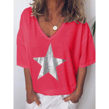 2019 Nova Moda camiseta Mulheres Lantejoulas Com Decote Em V estrela de Cinco pontas Tops Tees Feminino Manga Curta Rua Senhoras Plus código de tamanho S-5XL 1