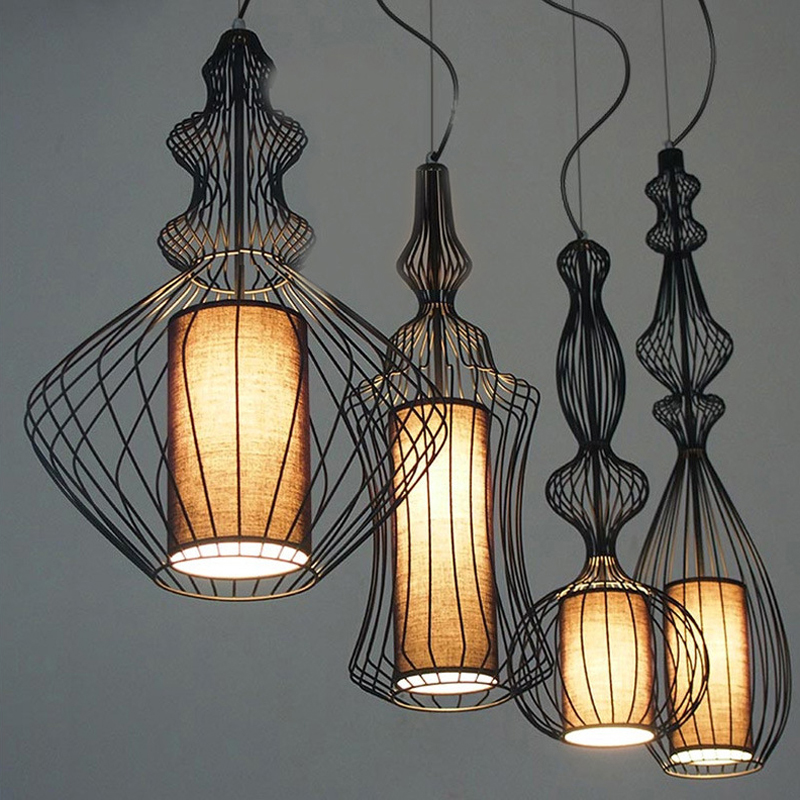 Vintage Suspension Lantern Pendant Light Tibet Black Iron Pendant Lamp Restaurant Light Retro Lighting Fixture For Cafe Bar Dining Room (29)