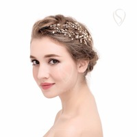 SWEETV Stunning Gold Handmade Flower Hair Clip Pins Comb For Women Girls Wedding Party Bride Barrette