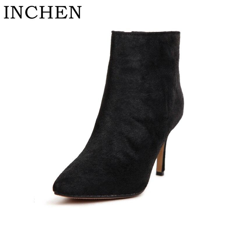 где купить INCHEN Boots Black Fur Horsehair High Heel Thin Heels Elegent Ankle Boots Zipper Pointed Toe Ladies Handmade Sexy Women Shoes по лучшей цене