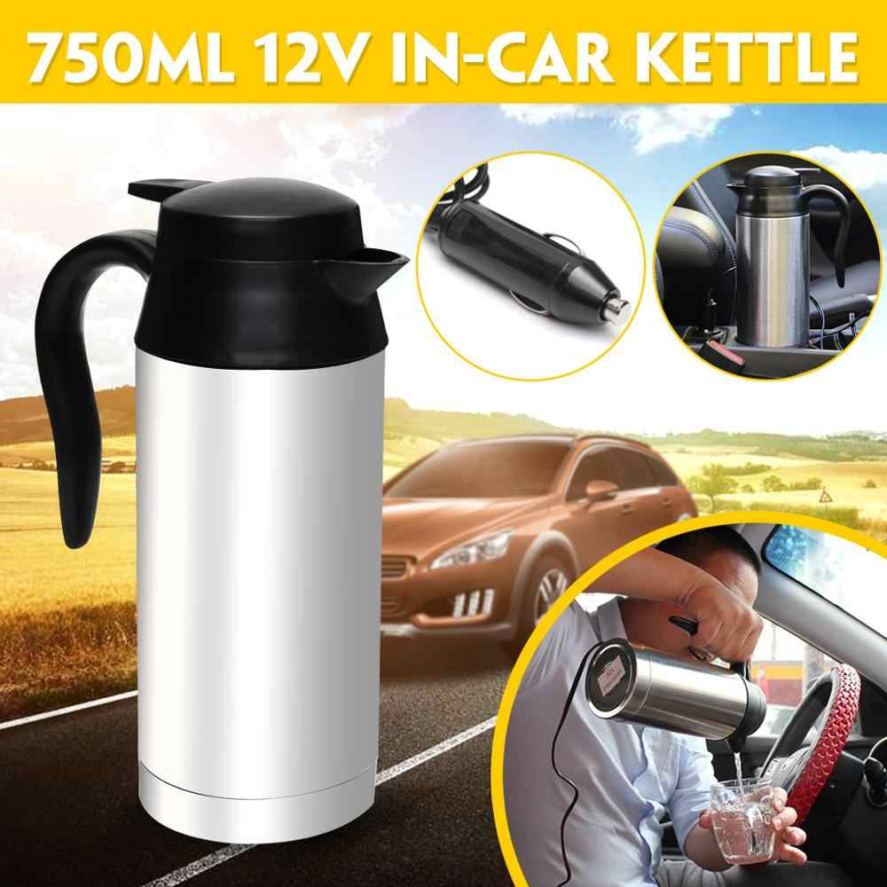 12V Electric Kettle 750ml Insulation Pot Stainless Steel In-Car Bottle Travel Trip Heated Mug Motor Hot Water For Car Truck