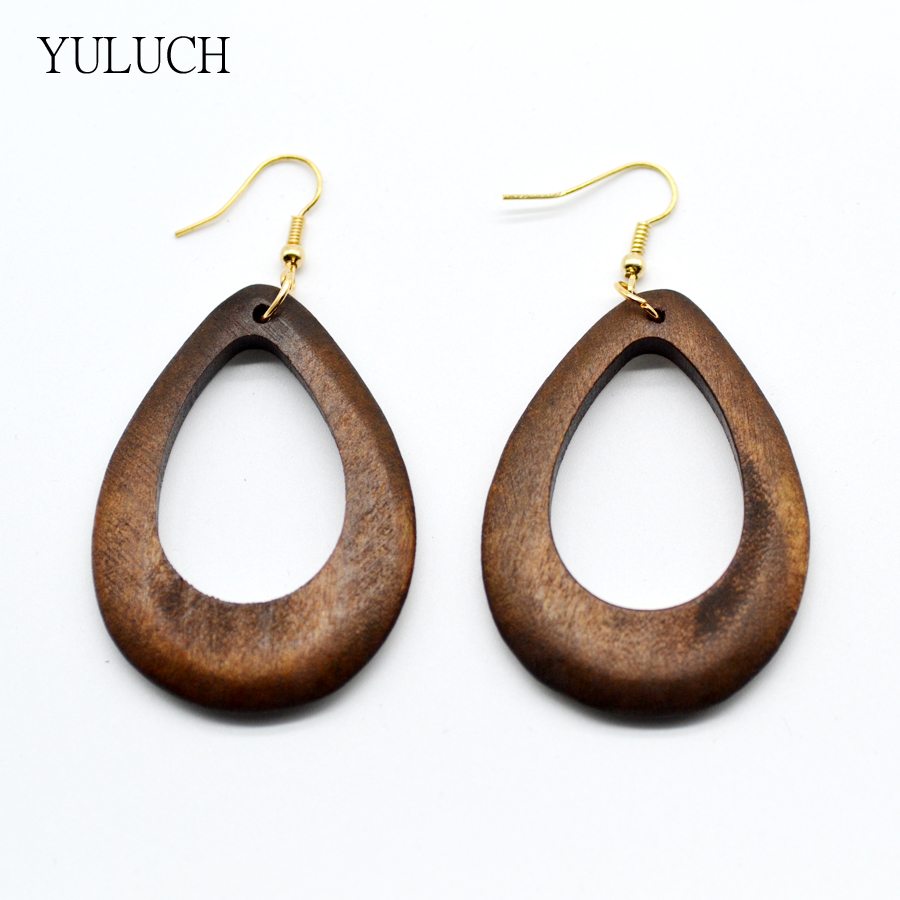 2017new design woman earrings eardrop handmade wood earring hollow circular national style Design and style fashion jewelry