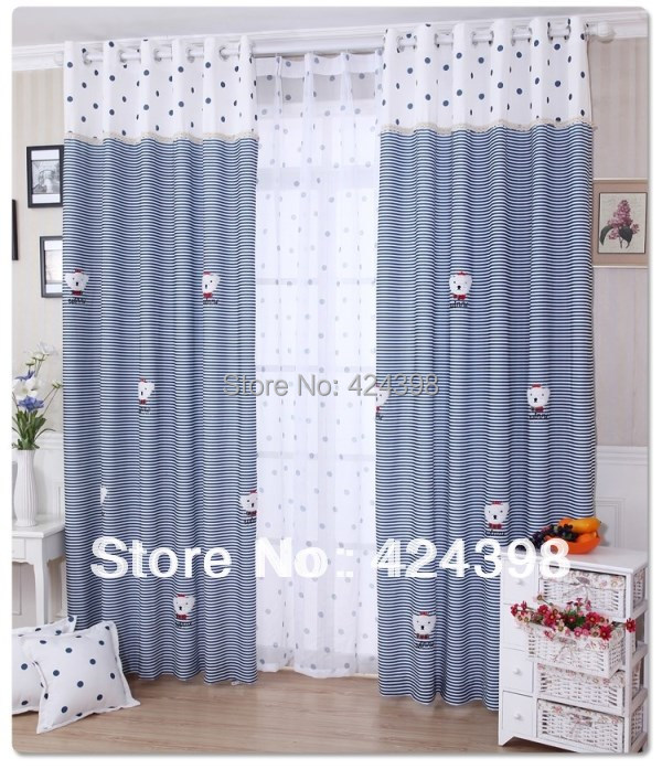 US $14.0 |modern rustic window curtains blue white stripe printed cloth  child bedroom curtain kids applique cartoon Living room curtains-in  Curtains ...