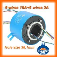 """Conector rotativo elétrico 1.5 """"tamanho do furo (38.1mm) com 6 circuitos de 10A, 6 circuitos de sinal de através do anel buraco deslizamento"""